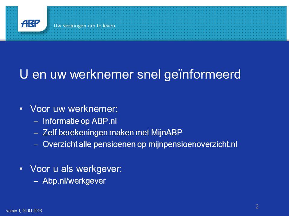 2 U en uw werknemer snel geïnformeerd Voor uw werknemer: –Informatie op ABP.nl –Zelf berekeningen maken met MijnABP –Overzicht alle pensioenen op mijn
