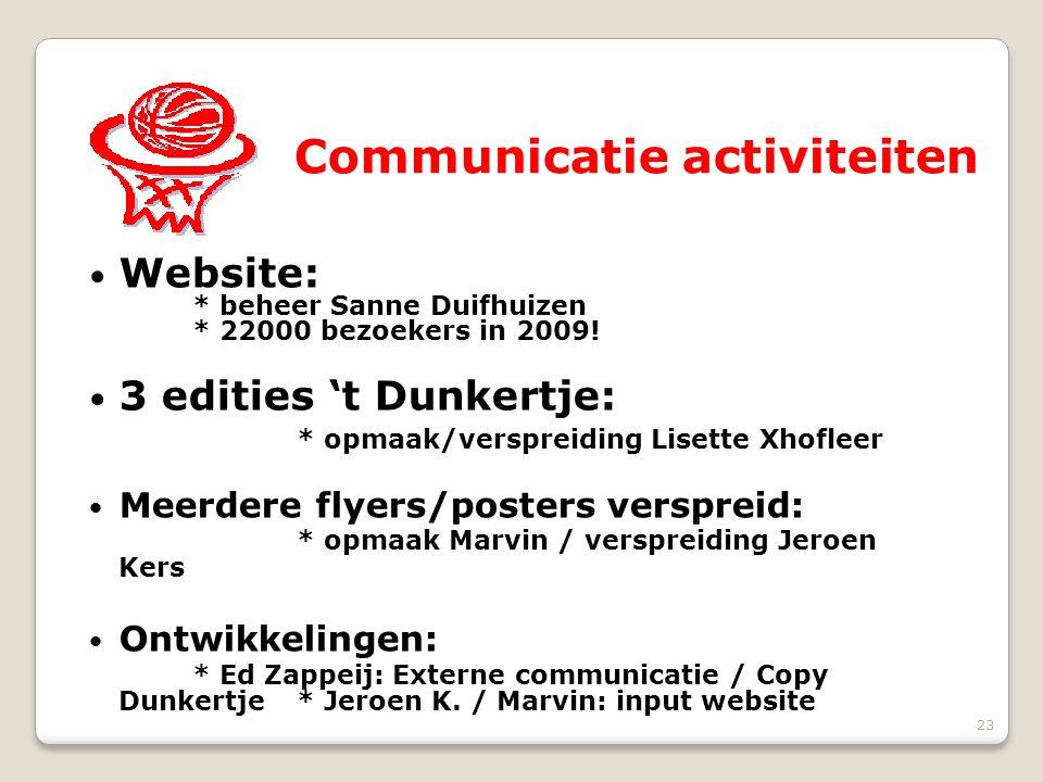 23 Communicatie activiteiten Website: * beheer Sanne Duifhuizen * 22000 bezoekers in 2009! 3 edities 't Dunkertje: * opmaak/verspreiding Lisette Xhofl