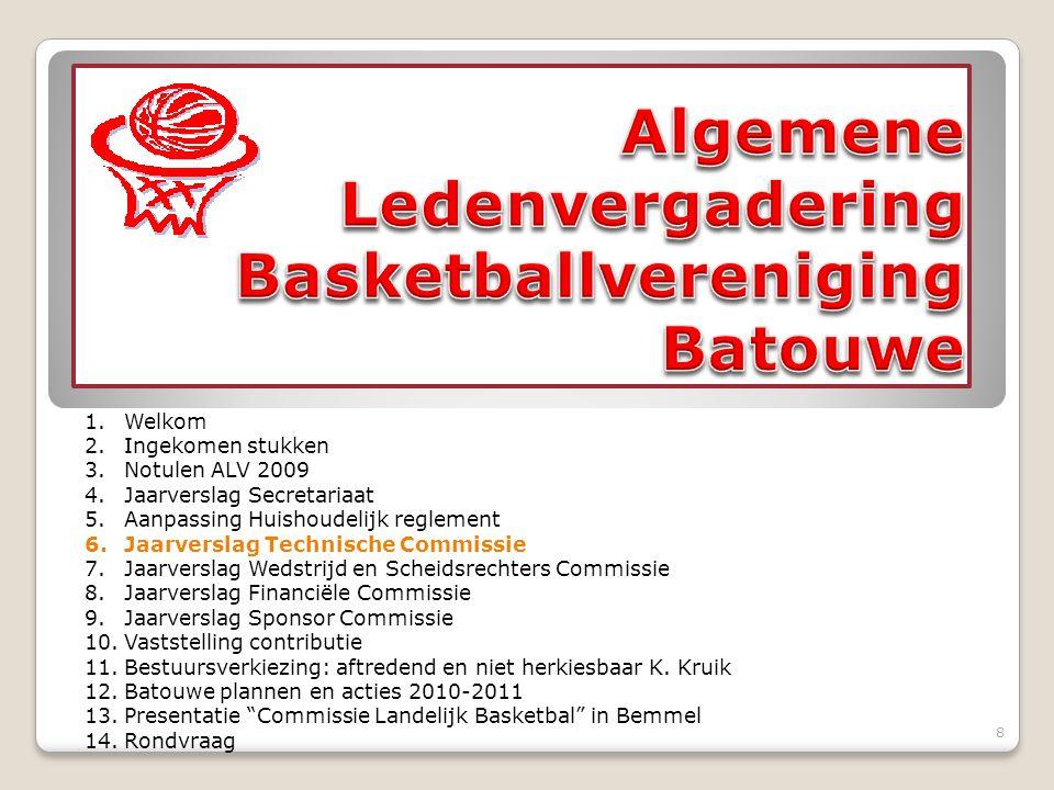 Seizoensstart 09/10 Landelijk basketball (DS1/ MU20) Zaalruimte Trainers Stand van zaken in de diverse competities Dames Heren Plannen 10/11 Trainersbijeenkomst (maandelijks) Technisch beleidsplan 9