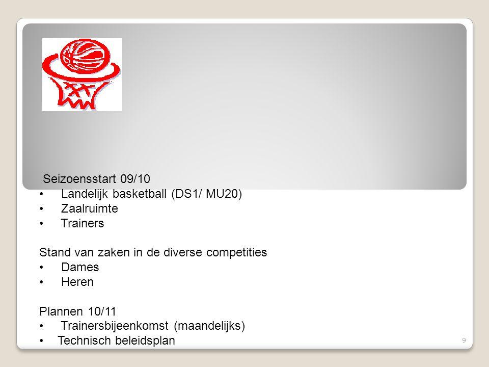 Seizoensstart 09/10 Landelijk basketball (DS1/ MU20) Zaalruimte Trainers Stand van zaken in de diverse competities Dames Heren Plannen 10/11 Trainersb