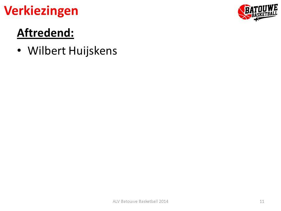 Verkiezingen Aftredend: Wilbert Huijskens 11ALV Batouwe Basketball 2014