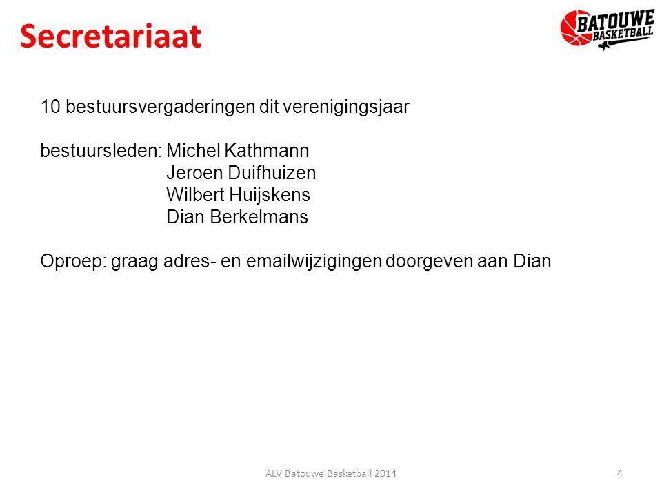 Secretariaat 4ALV Batouwe Basketball 2014 10 bestuursvergaderingen dit verenigingsjaar bestuursleden: Michel Kathmann Jeroen Duifhuizen Wilbert Huijskens Dian Berkelmans Oproep: graag adres- en emailwijzigingen doorgeven aan Dian