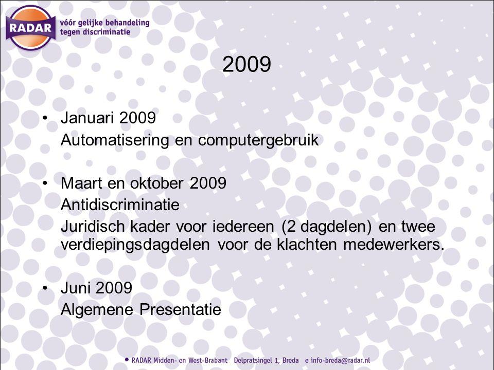 2009 Januari 2009 Automatisering en computergebruik Maart en oktober 2009 Antidiscriminatie Juridisch kader voor iedereen (2 dagdelen) en twee verdiep