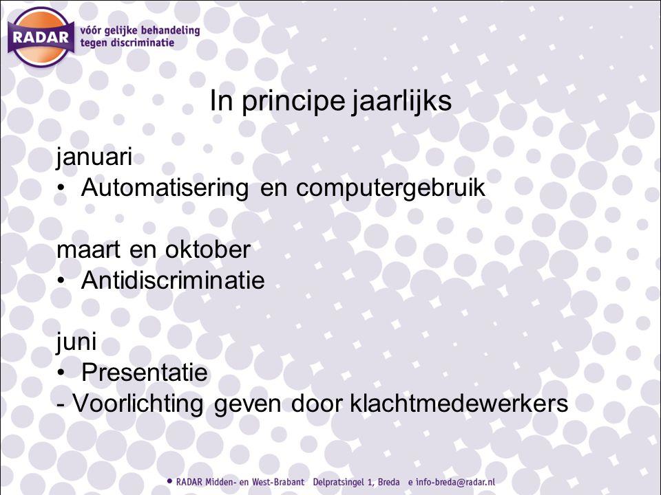 In principe jaarlijks januari Automatisering en computergebruik maart en oktober Antidiscriminatie juni Presentatie - Voorlichting geven door klachtme