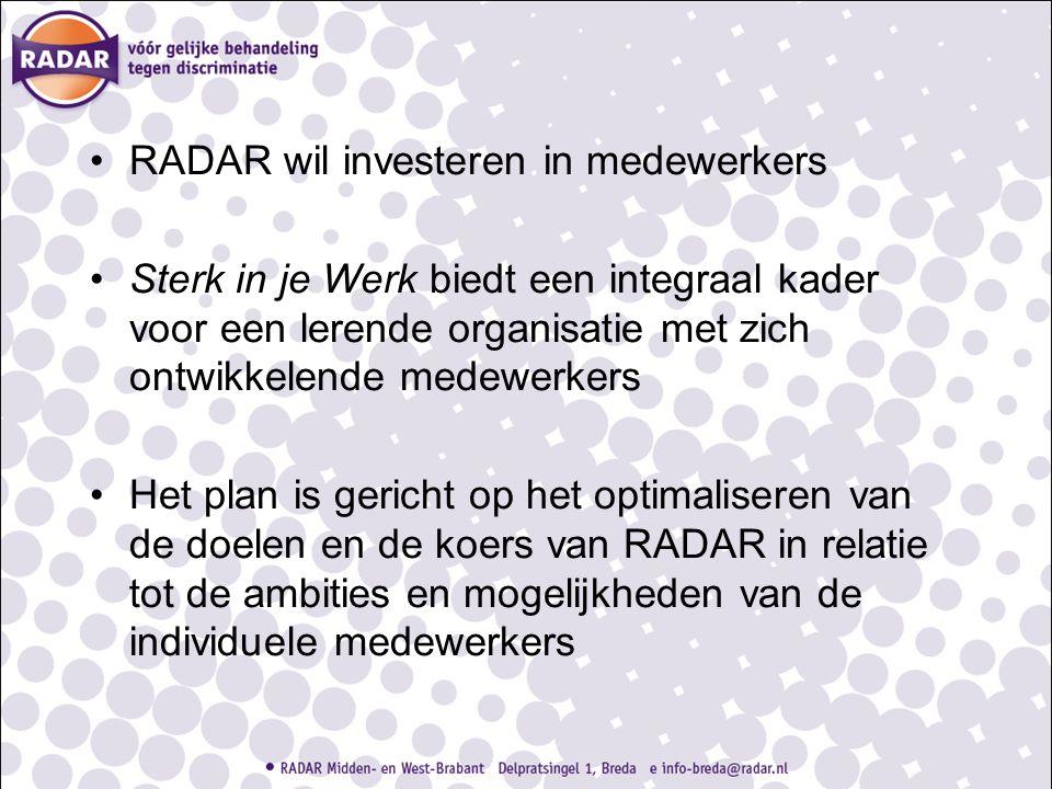 RADAR wil investeren in medewerkers Sterk in je Werk biedt een integraal kader voor een lerende organisatie met zich ontwikkelende medewerkers Het pla
