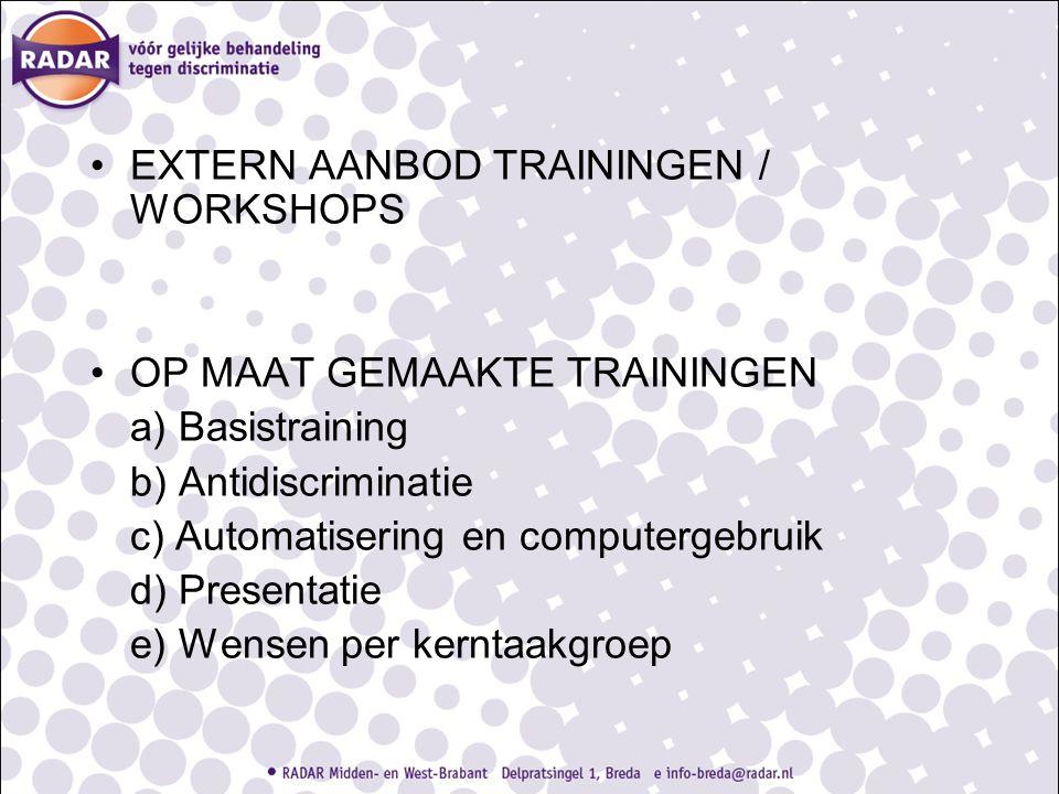 EXTERN AANBOD TRAININGEN / WORKSHOPS OP MAAT GEMAAKTE TRAININGEN a) Basistraining b) Antidiscriminatie c) Automatisering en computergebruik d) Present