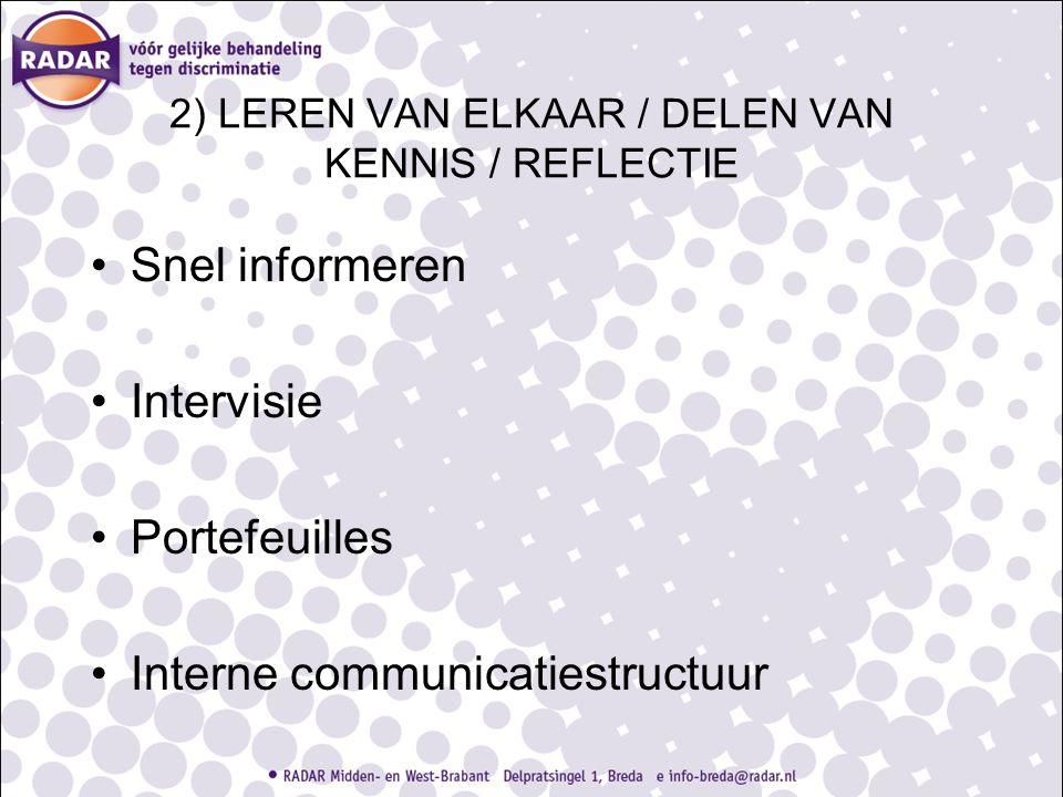 2) LEREN VAN ELKAAR / DELEN VAN KENNIS / REFLECTIE Snel informeren Intervisie Portefeuilles Interne communicatiestructuur