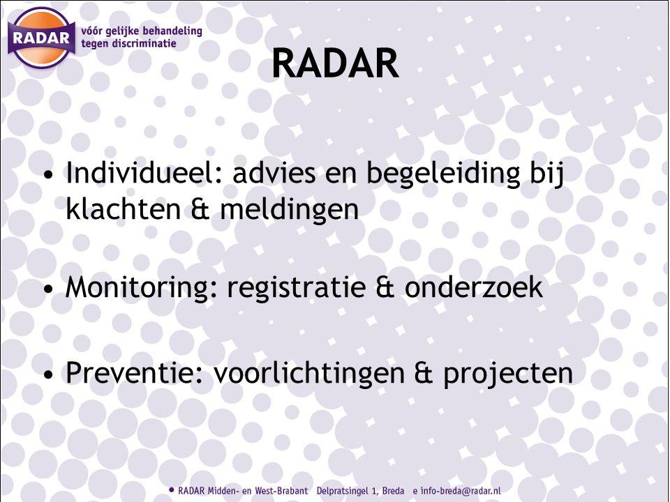 RADAR Individueel: advies en begeleiding bij klachten & meldingen Monitoring: registratie & onderzoek Preventie: voorlichtingen & projecten