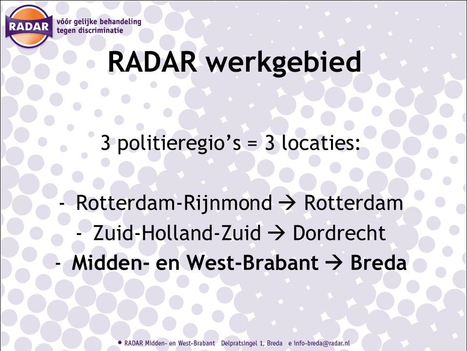 RADAR werkgebied 3 politieregio's = 3 locaties: -Rotterdam-Rijnmond  Rotterdam -Zuid-Holland-Zuid  Dordrecht -Midden- en West-Brabant  Breda
