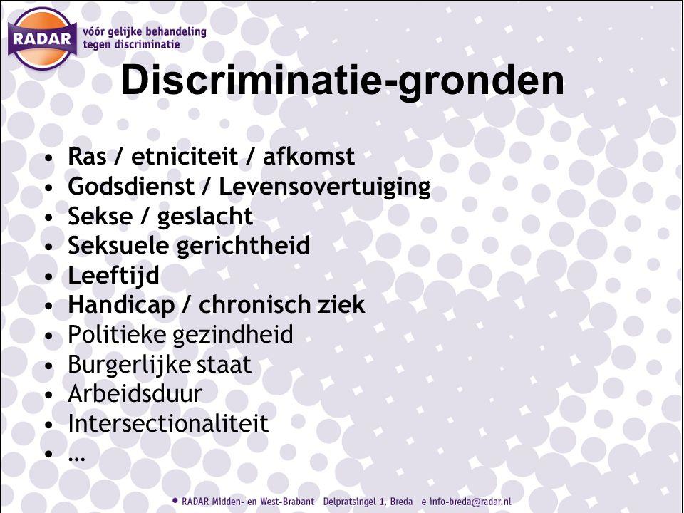 Discriminatie-gronden Ras / etniciteit / afkomst Godsdienst / Levensovertuiging Sekse / geslacht Seksuele gerichtheid Leeftijd Handicap / chronisch ziek Politieke gezindheid Burgerlijke staat Arbeidsduur Intersectionaliteit …
