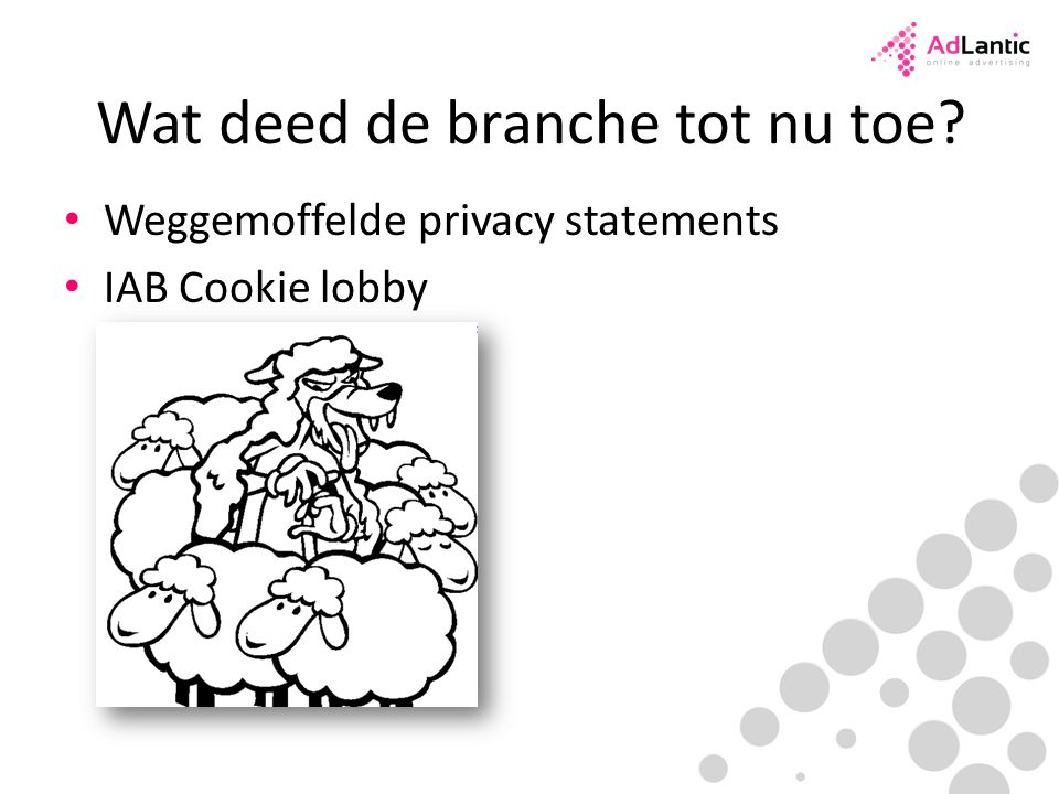 Wat deed de branche tot nu toe Weggemoffelde privacy statements IAB Cookie lobby