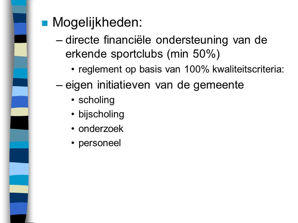 n Mogelijkheden: –directe financiële ondersteuning van de erkende sportclubs (min 50%) reglement op basis van 100% kwaliteitscriteria: –eigen initiati