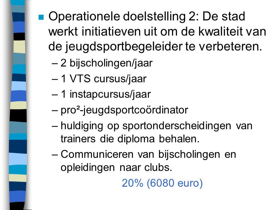 n Operationele doelstelling 2: De stad werkt initiatieven uit om de kwaliteit van de jeugdsportbegeleider te verbeteren. –2 bijscholingen/jaar –1 VTS