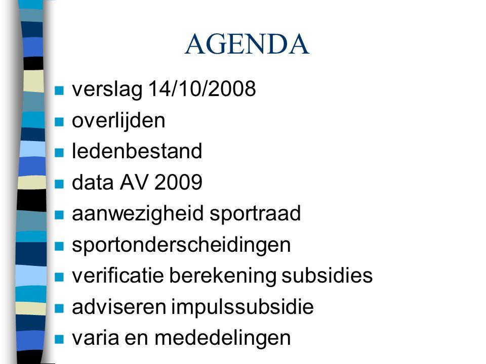 AGENDA n verslag 14/10/2008 n overlijden n ledenbestand n data AV 2009 n aanwezigheid sportraad n sportonderscheidingen n verificatie berekening subsi