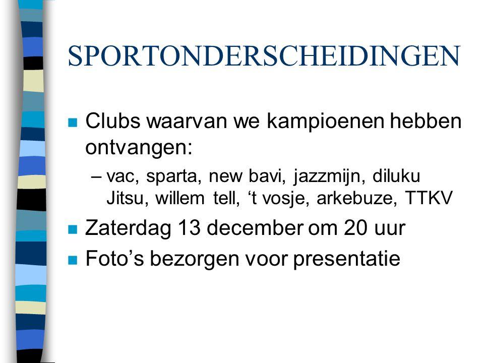SPORTONDERSCHEIDINGEN n Clubs waarvan we kampioenen hebben ontvangen: –vac, sparta, new bavi, jazzmijn, diluku Jitsu, willem tell, 't vosje, arkebuze,