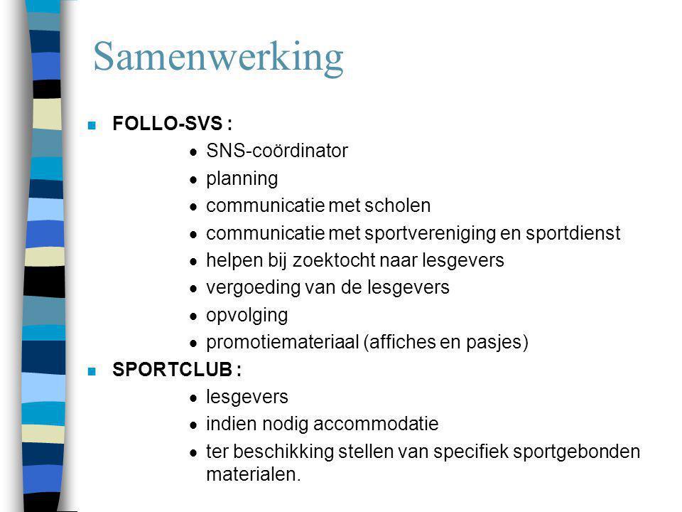 Samenwerking n FOLLO-SVS :  SNS-coördinator  planning  communicatie met scholen  communicatie met sportvereniging en sportdienst  helpen bij zoek