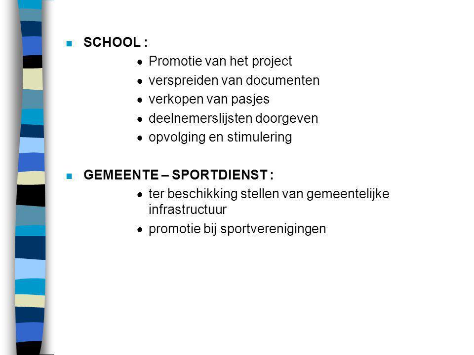 n SCHOOL :  Promotie van het project  verspreiden van documenten  verkopen van pasjes  deelnemerslijsten doorgeven  opvolging en stimulering n GE