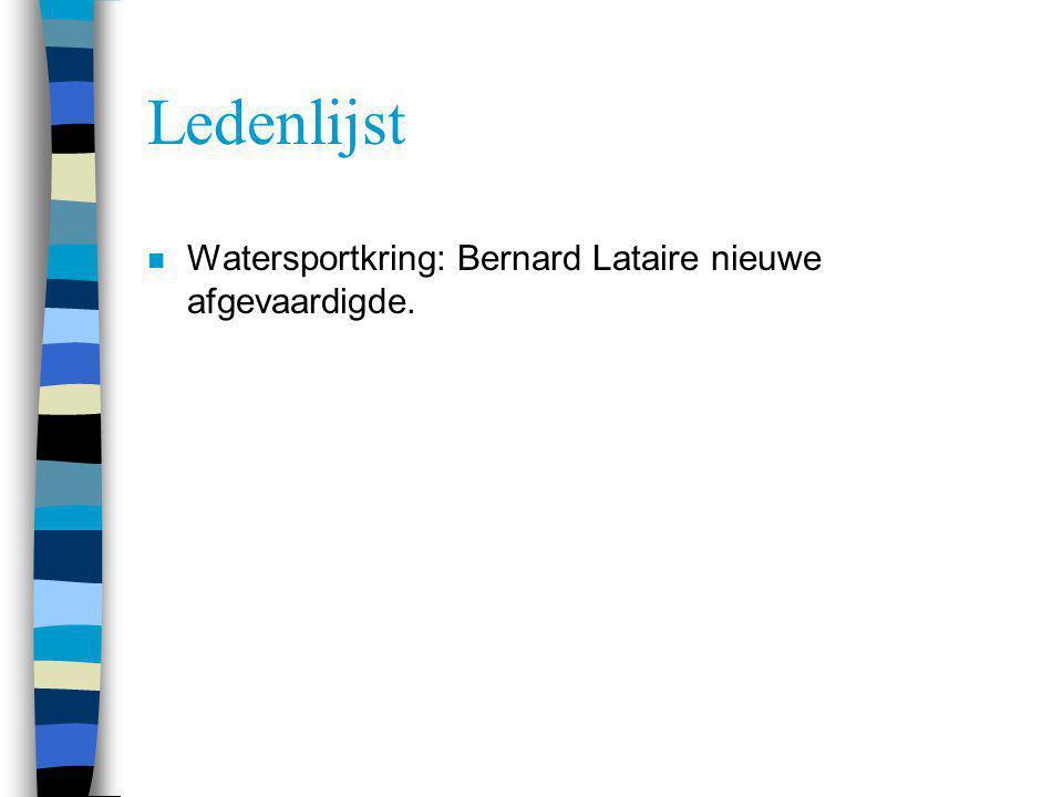 Ledenlijst n Watersportkring: Bernard Lataire nieuwe afgevaardigde.