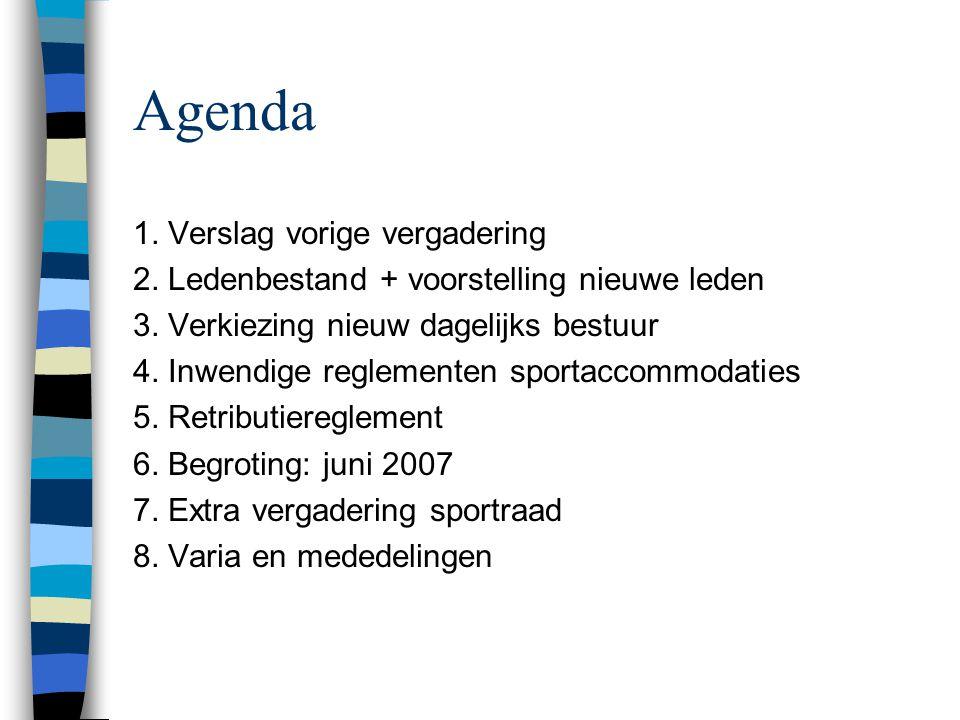 Agenda 1. Verslag vorige vergadering 2. Ledenbestand + voorstelling nieuwe leden 3.