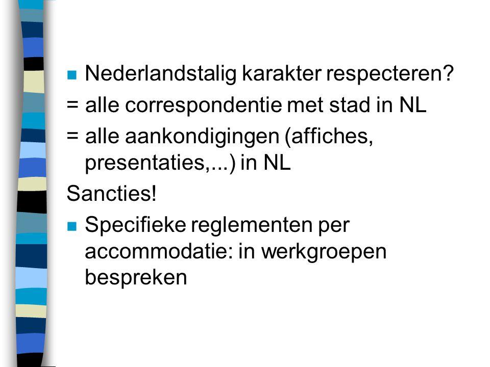 n Nederlandstalig karakter respecteren.