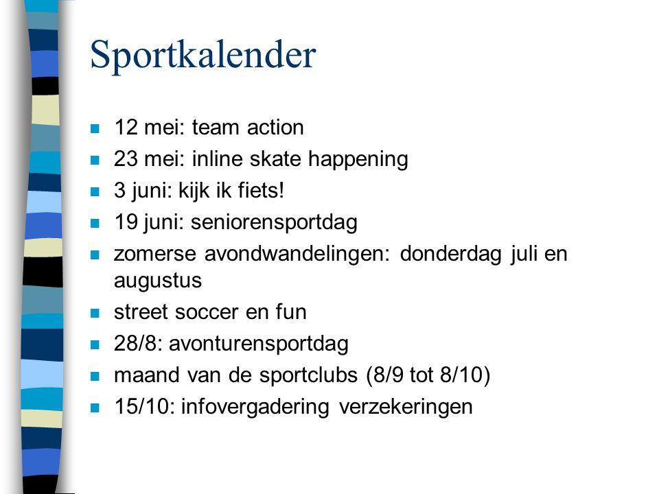 Sportkalender n 12 mei: team action n 23 mei: inline skate happening n 3 juni: kijk ik fiets.