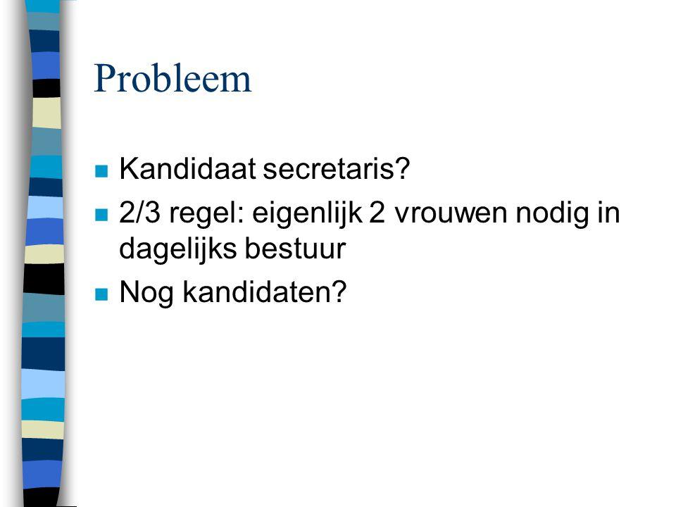 Probleem n Kandidaat secretaris.
