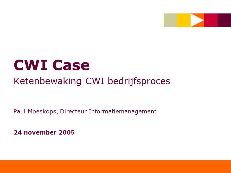 CWI Case Ketenbewaking CWI bedrijfsproces Paul Moeskops, Directeur Informatiemanagement 24 november 2005