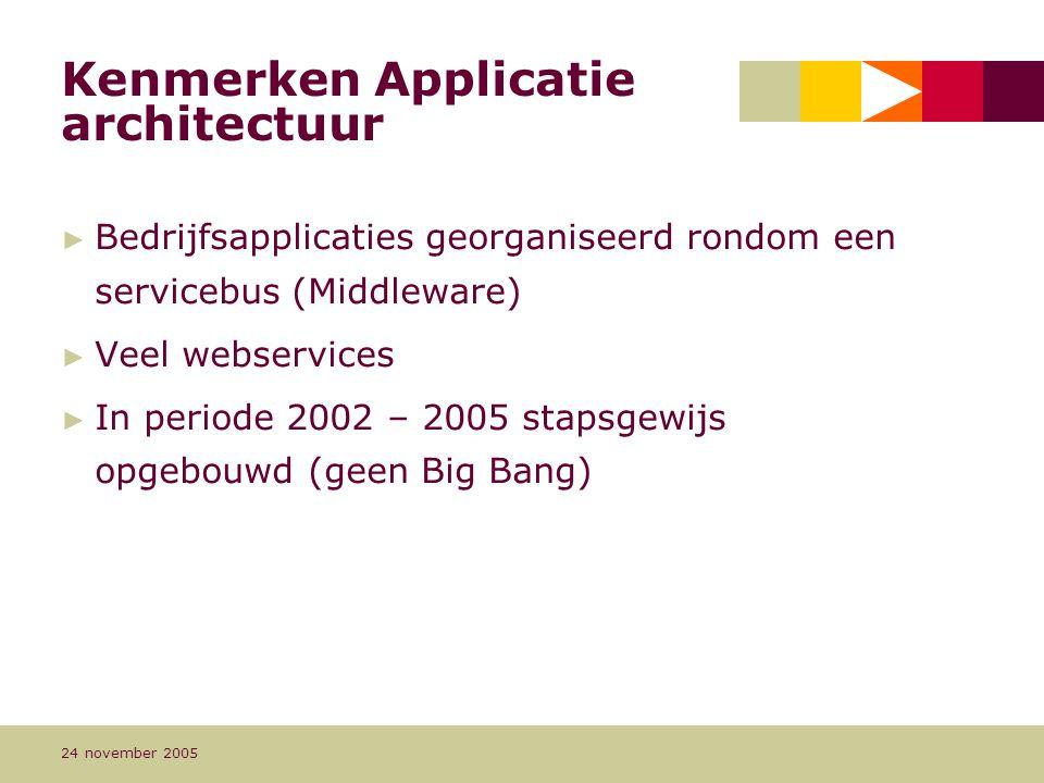 Pagina 10 24 november 2005 Kenmerken Applicatie architectuur ► Bedrijfsapplicaties georganiseerd rondom een servicebus (Middleware) ► Veel webservices ► In periode 2002 – 2005 stapsgewijs opgebouwd (geen Big Bang)