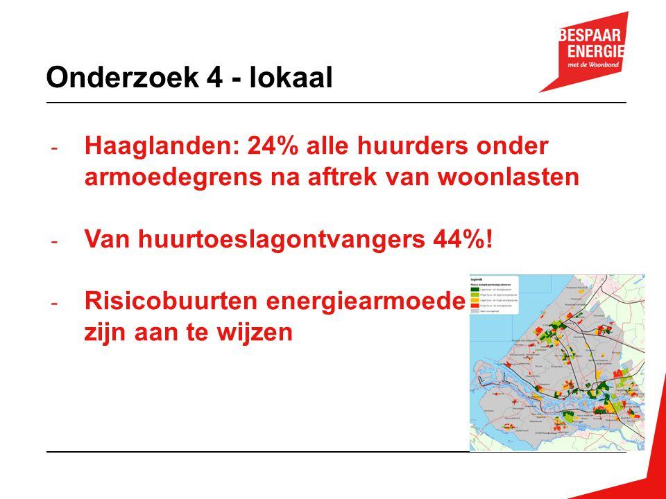 - Haaglanden: 24% alle huurders onder armoedegrens na aftrek van woonlasten - Van huurtoeslagontvangers 44%! - Risicobuurten energiearmoede zijn aan t