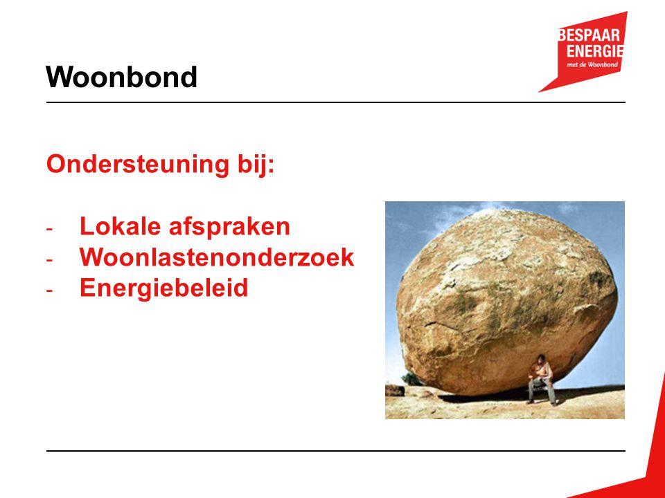 Ondersteuning bij: - Lokale afspraken - Woonlastenonderzoek - Energiebeleid Woonbond