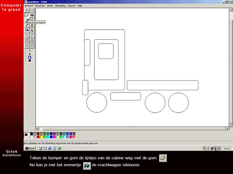 Teken de bumper en gom de lijntjes van de cabine weg met de gom. Nu kan je met het emmertje de vrachtwagen inkleuren.