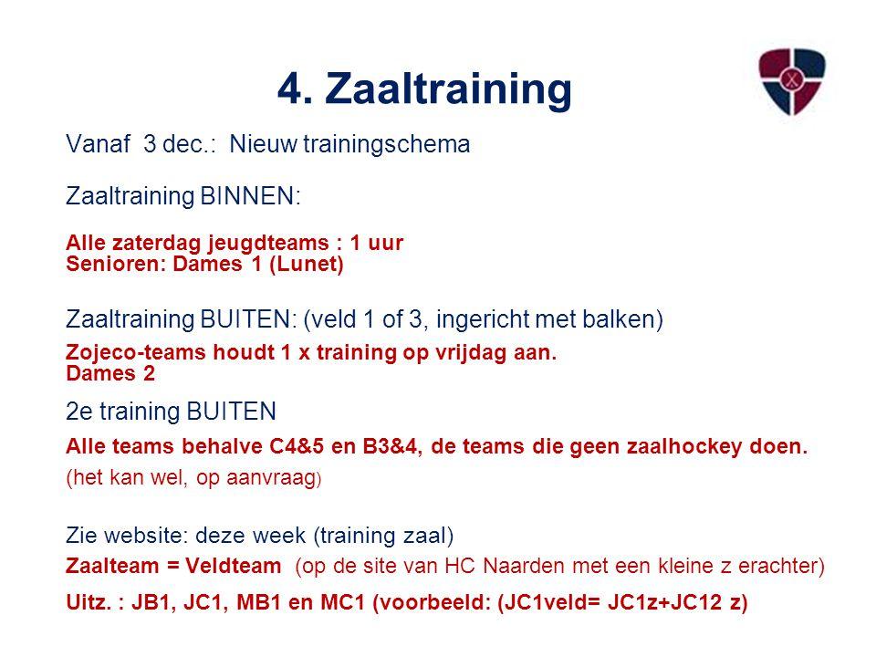 4. Zaaltraining Vanaf 3 dec.: Nieuw trainingschema Zaaltraining BINNEN: Alle zaterdag jeugdteams : 1 uur Senioren: Dames 1 (Lunet) Zaaltraining BUITEN