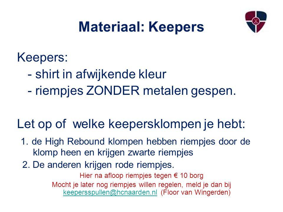 Materiaal: Keepers Keepers: - shirt in afwijkende kleur - riempjes ZONDER metalen gespen. Let op of welke keepersklompen je hebt: 1. de High Rebound k