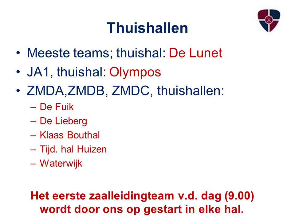 Thuishallen Meeste teams; thuishal: De Lunet JA1, thuishal: Olympos ZMDA,ZMDB, ZMDC, thuishallen: –De Fuik –De Lieberg –Klaas Bouthal –Tijd. hal Huize