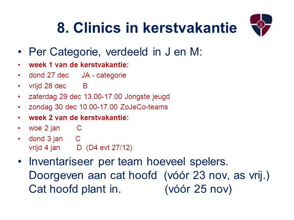 8. Clinics in kerstvakantie Per Categorie, verdeeld in J en M: week 1 van de kerstvakantie: dond 27 dec JA - categorie vrijd 28 dec B zaterdag 29 dec