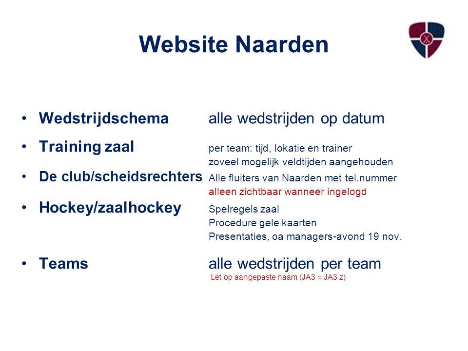 Website Naarden Wedstrijdschemaalle wedstrijden op datum Training zaal per team: tijd, lokatie en trainer zoveel mogelijk veldtijden aangehouden De cl