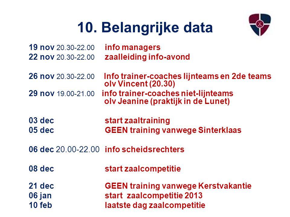 10. Belangrijke data 19 nov 20.30-22.00 info managers 22 nov 20.30-22.00 zaalleiding info-avond 26 nov 20.30-22.00 Info trainer-coaches lijnteams en 2