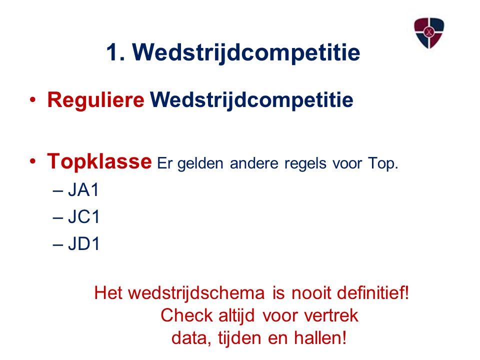 1. Wedstrijdcompetitie Reguliere Wedstrijdcompetitie Topklasse Er gelden andere regels voor Top. –JA1 –JC1 –JD1 Het wedstrijdschema is nooit definitie
