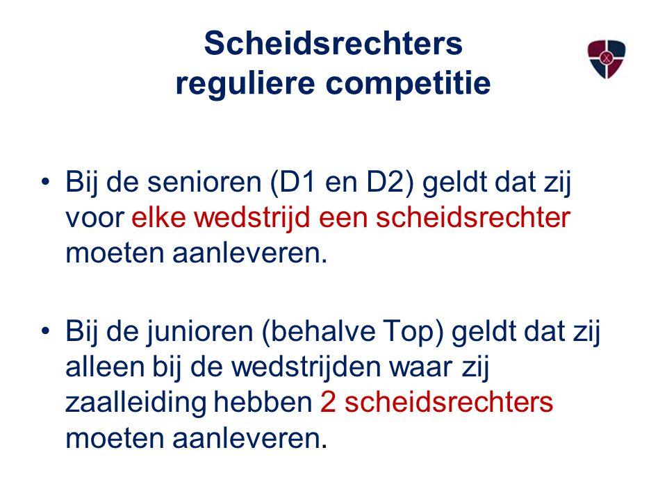 Scheidsrechters reguliere competitie Bij de senioren (D1 en D2) geldt dat zij voor elke wedstrijd een scheidsrechter moeten aanleveren. Bij de juniore