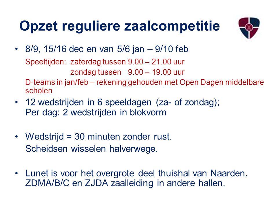 Opzet reguliere zaalcompetitie 8/9, 15/16 dec en van 5/6 jan – 9/10 feb Speeltijden:zaterdag tussen 9.00 – 21.00 uur zondag tussen 9.00 – 19.00 uur D-