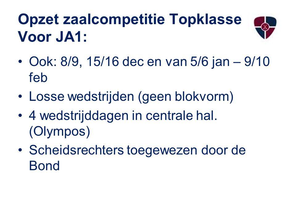 Opzet zaalcompetitie Topklasse Voor JA1: Ook: 8/9, 15/16 dec en van 5/6 jan – 9/10 feb Losse wedstrijden (geen blokvorm) 4 wedstrijddagen in centrale hal.