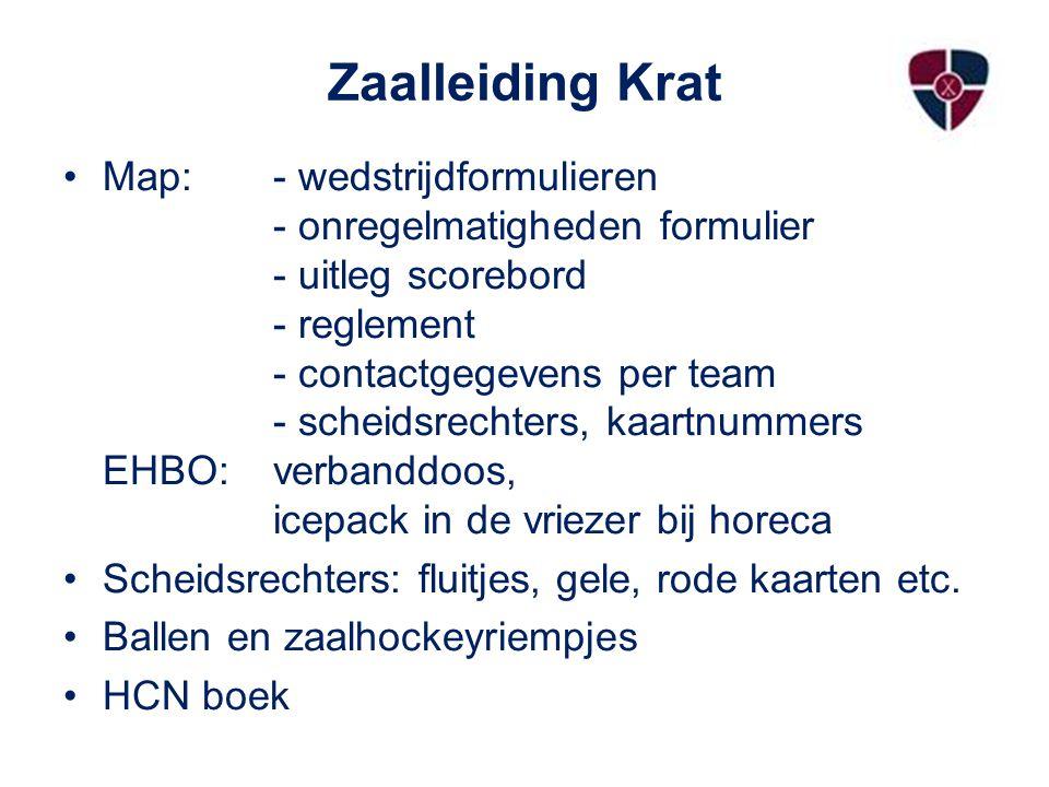 Zaalleiding Krat Map: - wedstrijdformulieren - onregelmatigheden formulier - uitleg scorebord - reglement - contactgegevens per team - scheidsrechters