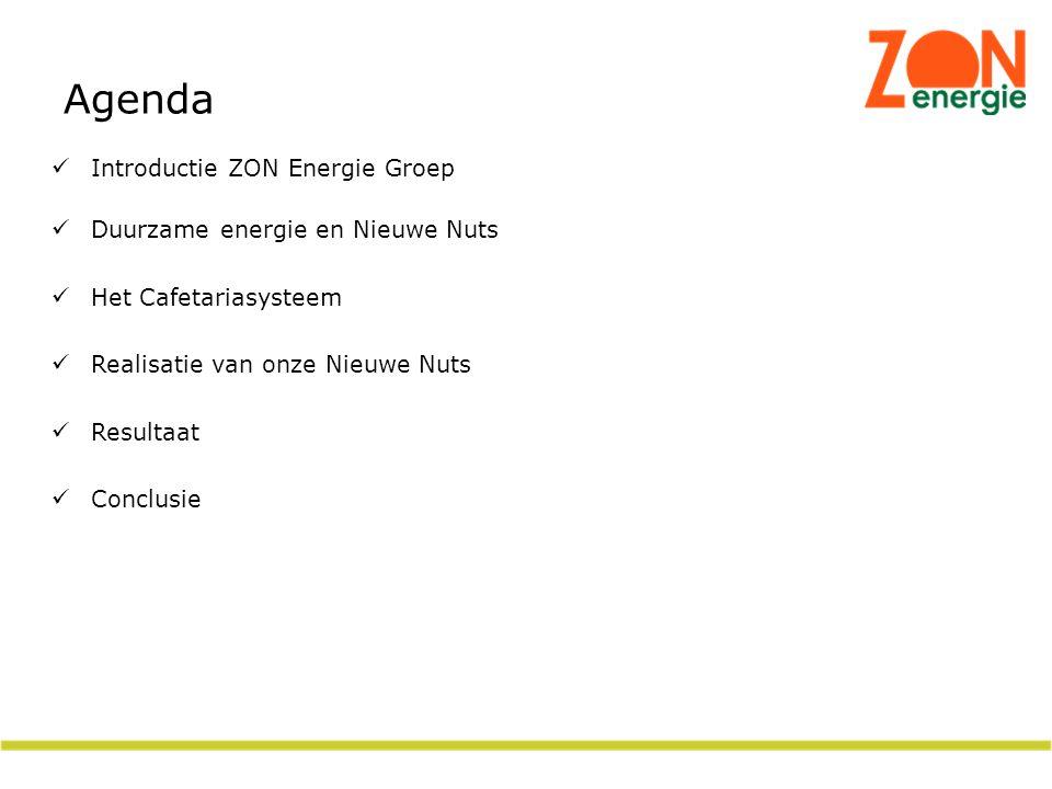 Introductie ZON Energie Groep Duurzame energie en Nieuwe Nuts Het Cafetariasysteem Realisatie van onze Nieuwe Nuts Resultaat Conclusie Agenda
