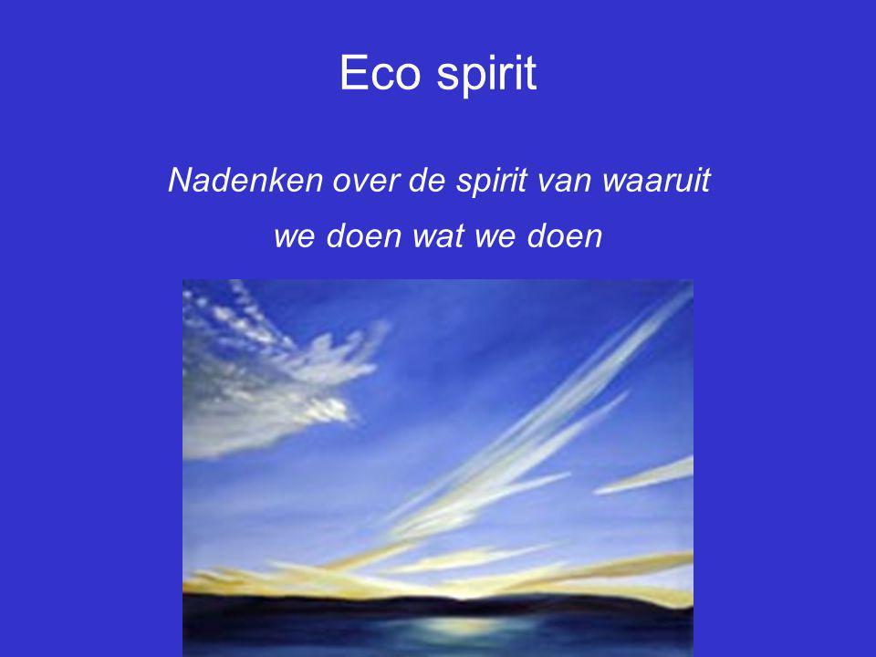 Eco spirit Nadenken over de spirit van waaruit we doen wat we doen