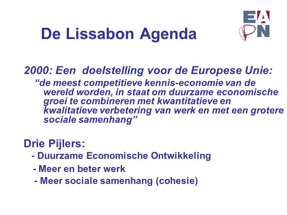 """De Lissabon Agenda 2000: Een doelstelling voor de Europese Unie: """"de meest competitieve kennis-economie van de wereld worden, in staat om duurzame eco"""