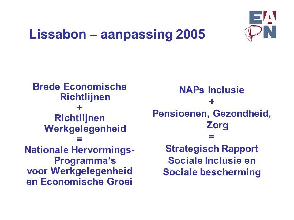 Lissabon – aanpassing 2005 Brede Economische Richtlijnen + Richtlijnen Werkgelegenheid = Nationale Hervormings- Programma's voor Werkgelegenheid en Ec