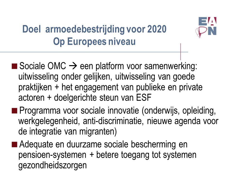 Doel armoedebestrijding voor 2020 Op Europees niveau  Sociale OMC  een platform voor samenwerking: uitwisseling onder gelijken, uitwisseling van goede praktijken + het engagement van publieke en private actoren + doelgerichte steun van ESF  Programma voor sociale innovatie (onderwijs, opleiding, werkgelegenheid, anti-discriminatie, nieuwe agenda voor de integratie van migranten)  Adequate en duurzame sociale bescherming en pensioen-systemen + betere toegang tot systemen gezondheidszorgen