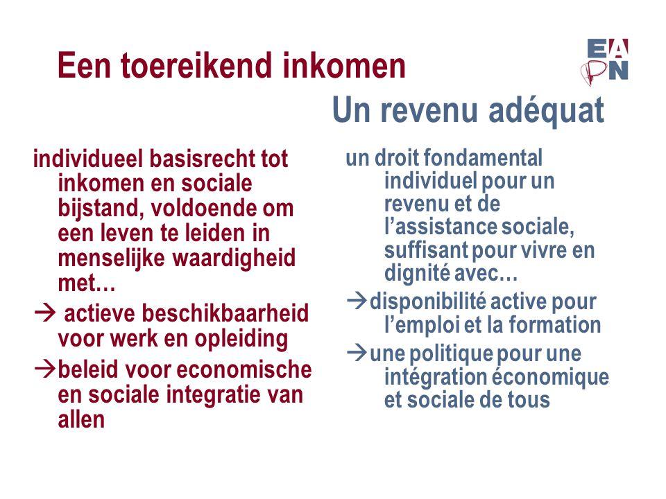 Een toereikend inkomen Un revenu adéquat  rekening houden met levensstandaard en hoogte van prijzen  blijven werk zoeken voor mensen die er voor geschikt zijn  tenir compte avec le niveau de vie et des prix  continuer à chercher du travail pour ceux qui sont capable de le faire