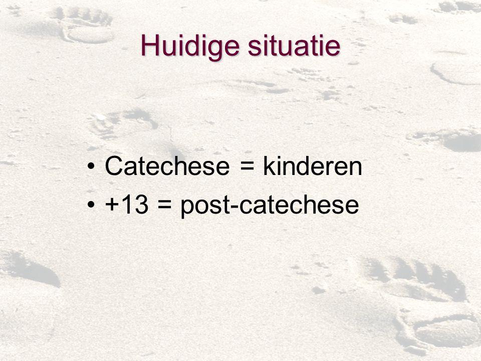 Huidige situatie Catechese = kinderen +13 = post-catechese