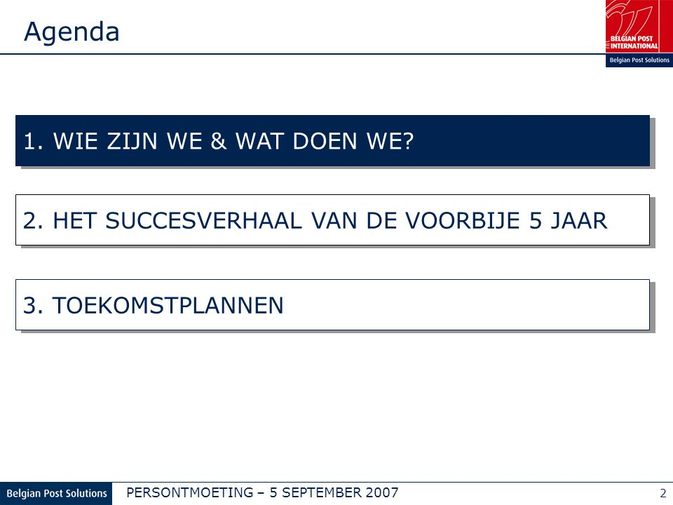 PERSONTMOETING – 5 SEPTEMBER 2007 2 1. WIE ZIJN WE & WAT DOEN WE.